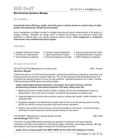 Free Resume For Manufacturing by Manufacturing Manager Free Resume Sles Blue Sky Resumes
