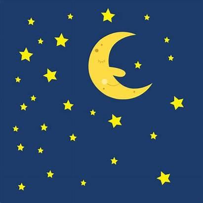 Sky Night Moon Stars Clipart Clip Sleeping