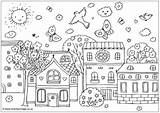 Coloring Town Sheets Designlooter Spring Places sketch template