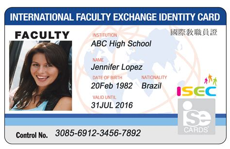 faculty id card template isecard isec international student identification card
