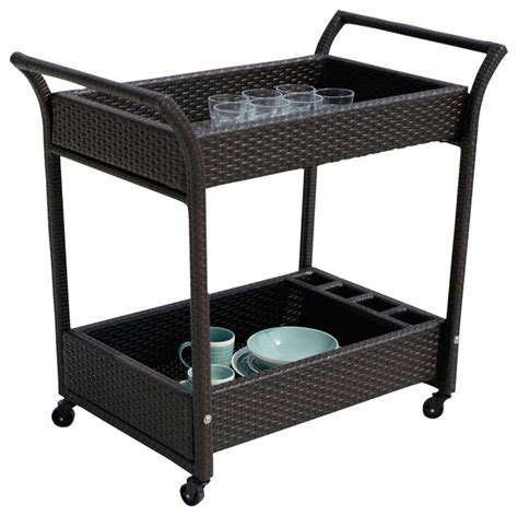 crafted resin wicker outdoor serving cart with