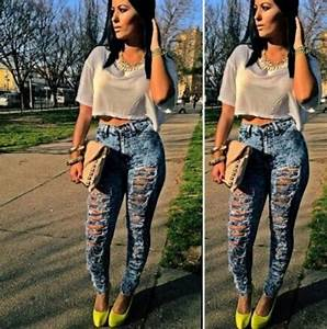 Jeans high waisted jeans ripped _ highwaisted jeans yellow blue jeans gorgeous ripped ...