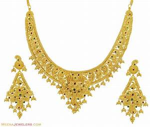 22K Yellow Gold Necklace Set - StGd10500 - 22K gold ...