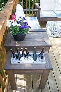 fine patio side table plans DIY End Table with Built-In Planter or Ice Bucket - The Handyman's Daughter