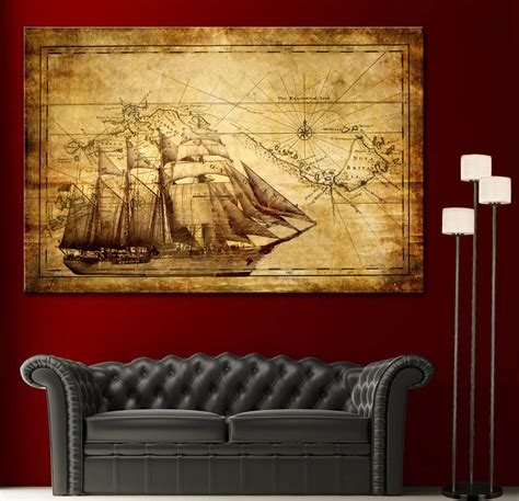 home interior pictures wall decor canvas home wall print sail ship map decor vintage