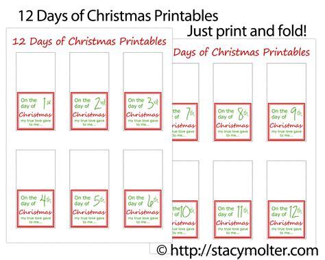 12 days of christmas gifts for him free printable