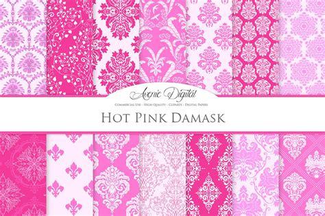 bright pink damask digital paper graphic patterns
