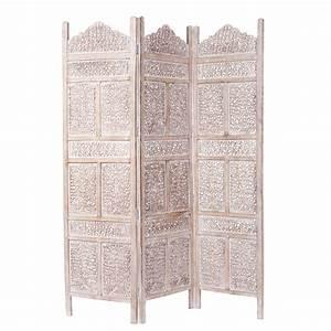 Tete De Lit Paravent : paravent en manguier blanchi l 150 cm udaipur maisons du monde ~ Teatrodelosmanantiales.com Idées de Décoration