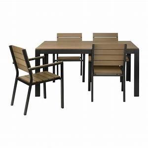 FALSTER Tavolo+4 sedie braccioli, giardino - nero/marrone