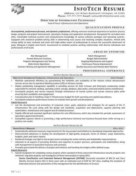 Technology Director Resume by It Resume Sles Infotechresume