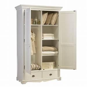Petite Armoire Blanche : armoire penderie blanche 2 portes de style anglais maison et styles ~ Teatrodelosmanantiales.com Idées de Décoration