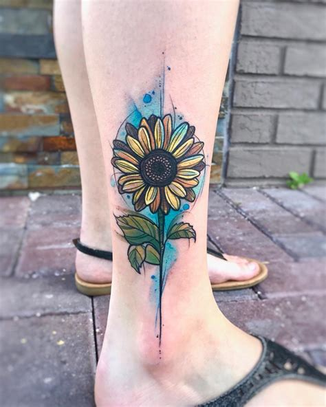 swanky watercolor sunflower leg tattoo blurmark
