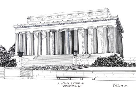 lincoln memorial   ink drawing  frederic kohli