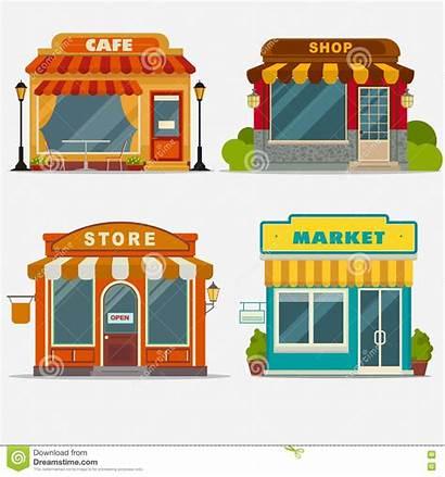 Market Street Illustration Vector Building Cafe Shopping