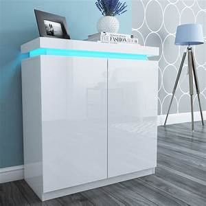 Tiffany Shoe Storage Cupboard in White High Gloss With LED
