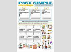 SIMPLE PAST ed endings pronunciation worksheet Free