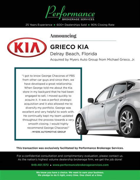 Kia Delray Service by Grieco Kia Of Delray Florida Sells To Myers Auto