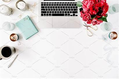 Laptop Workspace Desk Office Linkedin Coffee Flowers