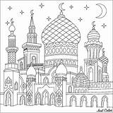 Castle Coloring Nights Mosque Turkish Thousand Orient Twinkling Moons Crescent Stars Pages Oriental sketch template