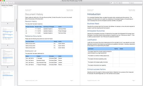 Business Case Template (apple Iwork Pages
