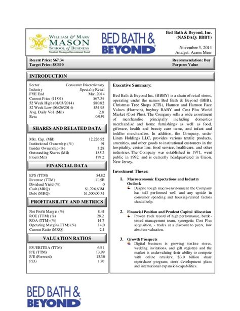 bed bath beyond application bed bath beyond inc bbby investment report