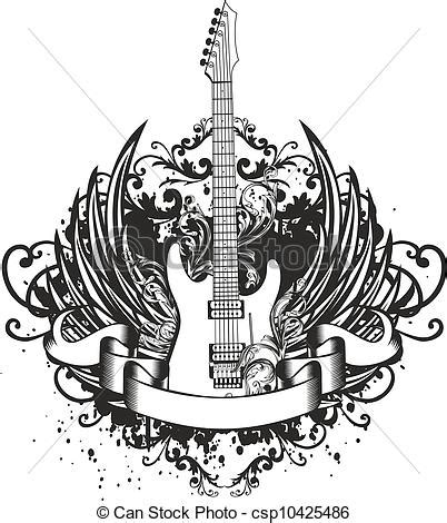 vector image guitar  wings patterns  ribbon vector