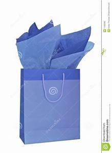 Papier De Soie Blanc : sac bleu de cadeau avec le papier de soie de soie photo ~ Farleysfitness.com Idées de Décoration