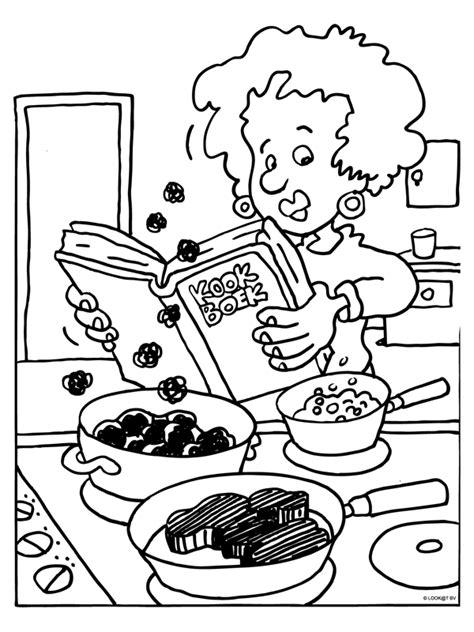 Kleurplaat Spaghetti Eten by Kleurplaat Kookboek Voor Kleurplaten Nl