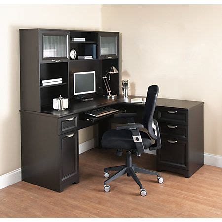 magellan collection corner desk hutch realspace 174 magellan l shaped desk 30 quot h x 58 3 4 quot w x 18 3
