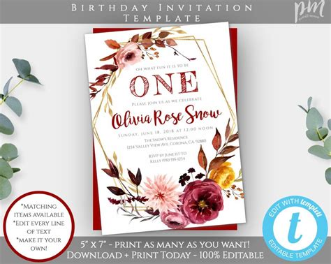Fall First Birthday Invitation Template Autumn 1st