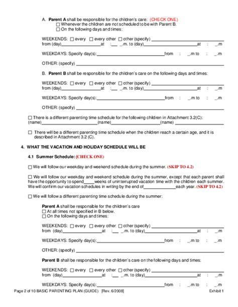 basic parenting plan form oregon