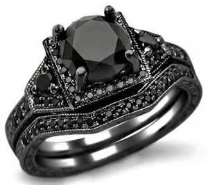 black gold wedding ring sets unique black engagement wedding ring sets with black gold 3 0 ct garnet