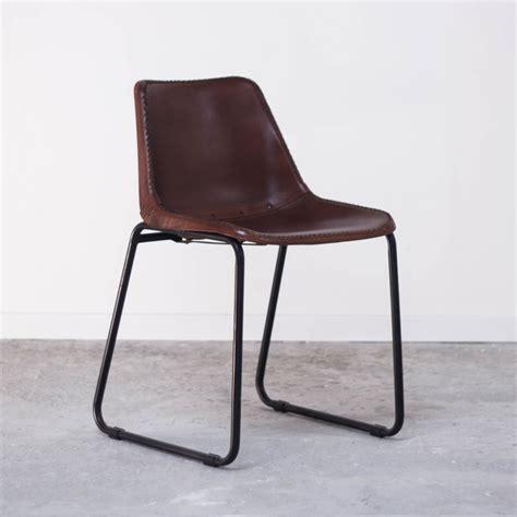 chaise en cuir veritable fauteuil chaise en métal et cuir vintage industrielle