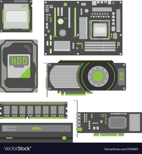 Stylish Simple Computer Parts Royalty Free Vector Image