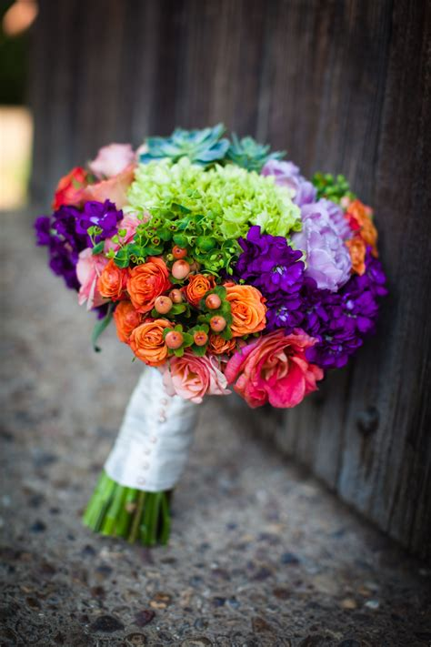 Colorful Rainbow Like Bouquet Vibrant Flowers Green