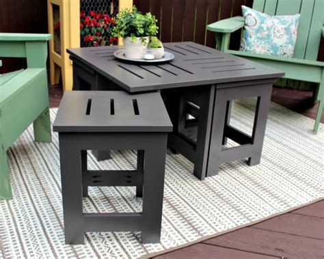 outdoor coffee table   hidden side tables