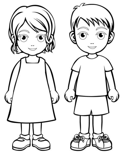 boy girl coloring page boys  girls wear colouring pages
