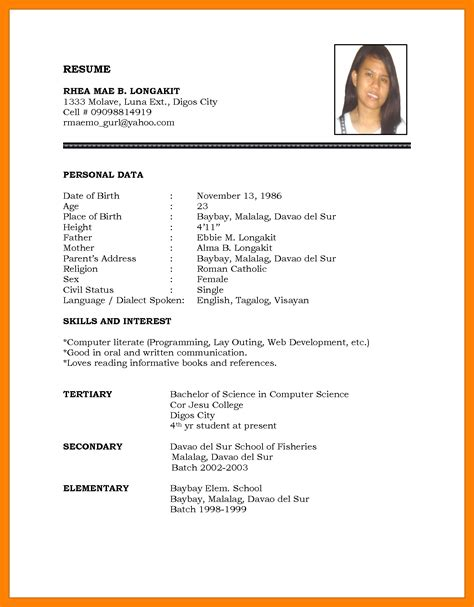 Muster Cv by 5 Curriculum Vitae Student Theorynpractice