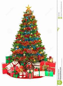 Christmas Tree And Presents Isolated On White Stock Photo ...