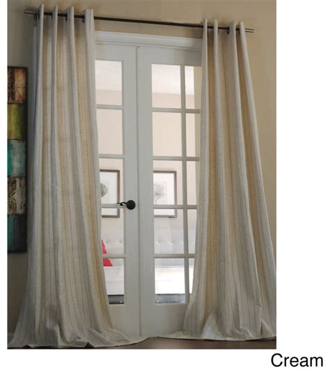 pinstripe linen blend 96 inch curtain panel