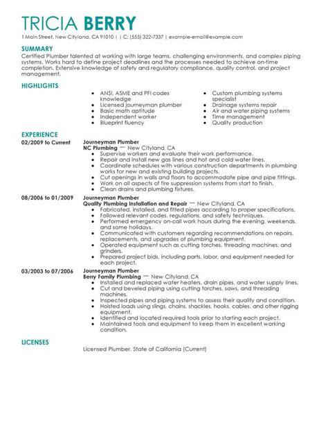 Plumber Resume Exles by Journeyman Plumber Resume Vvengelbert Nl