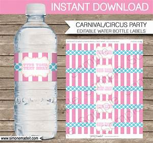 editable carnival water bottle labels carnival or circus With circus water bottle labels