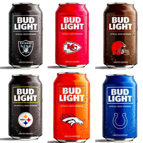 bud light football cans bud light toasts broncos fans with giveaway