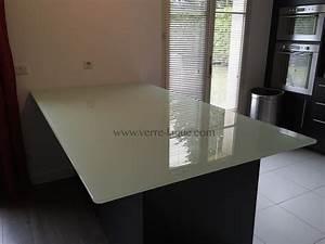 Dessus De Table En Verre : dessus de table verre trempe clair laque blanc2 cuisinevl ~ Dailycaller-alerts.com Idées de Décoration