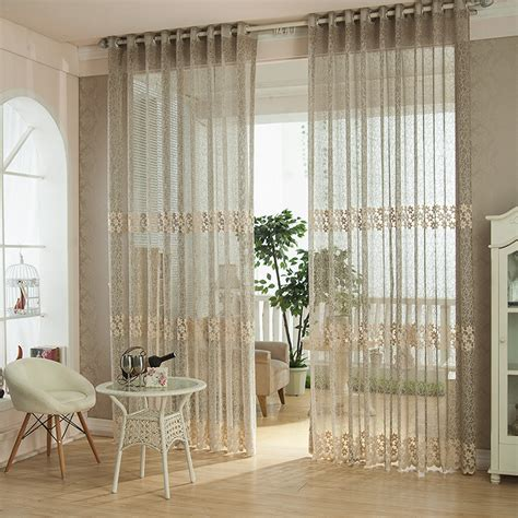 2pcs Fiber Lace Hollow Out Tulle Sheer Curtains Window