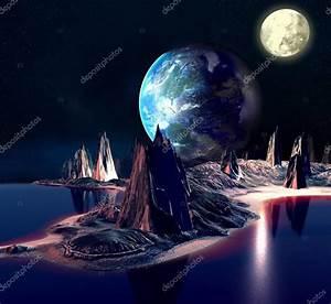 지구 달과 산 외계인 행성입니다. 3d 렌더링된 컴퓨터 작품입니다. Nasa에서 제공 하는이 이미지의 ...