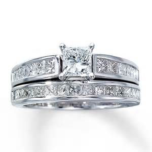 bridal set 2 ct tw princess cut 14k white gold - Princess Cut Wedding Set