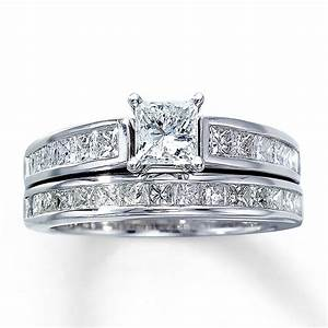 Kay diamond bridal set 2 ct tw princess cut 14k white gold for Wedding ring sets white gold