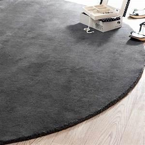 tapis rond soft anthracite 200 cm diametre maisons du monde With tapis rond diametre 200