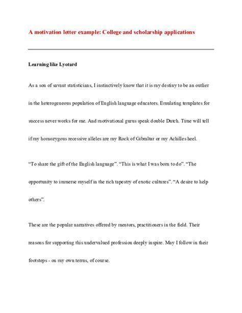 motivation letter  college  scholarship